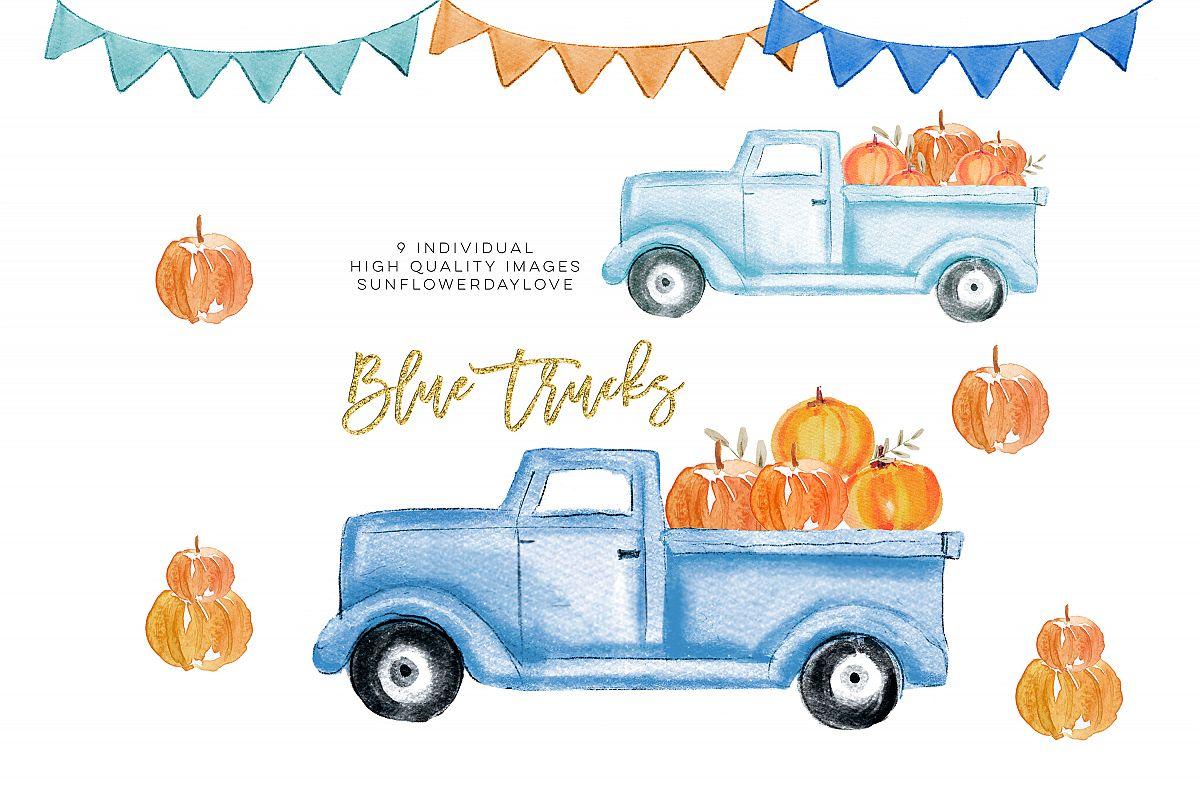 Fall Pumpkin Truck Clipart, Thanksgiving clipart.