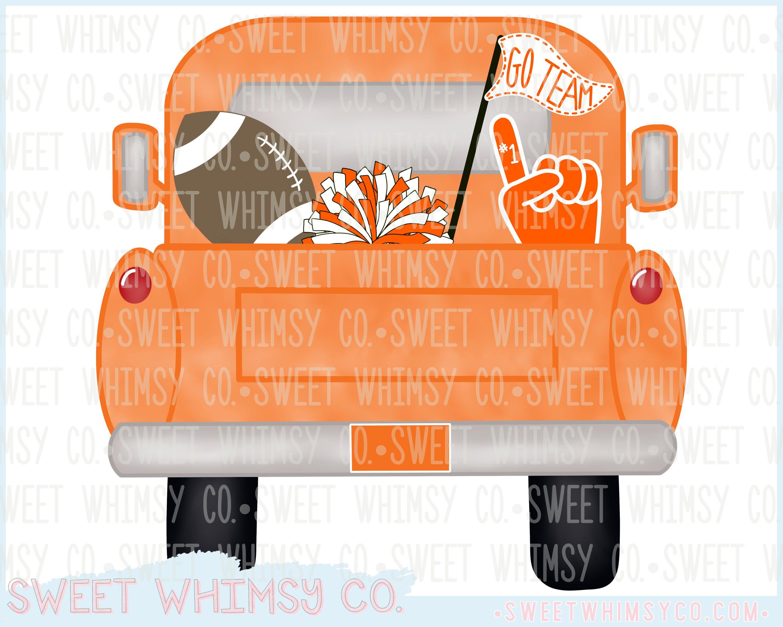 Orange Football Team Pickup Truck Watercolor PNG Digital.