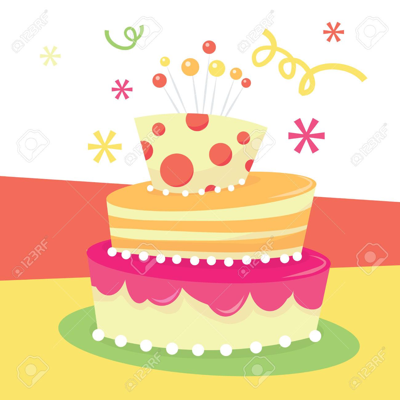 Whimsical Birthday Cake Clipart.