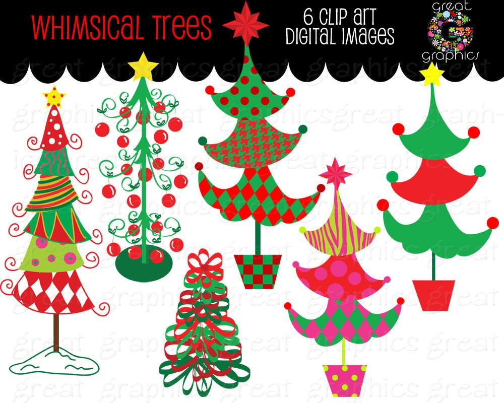 Christmas Tree Clipart Whimsical Christmas Digital Clip Art Christmas Tree  Printable Christmas Tree Clipart.