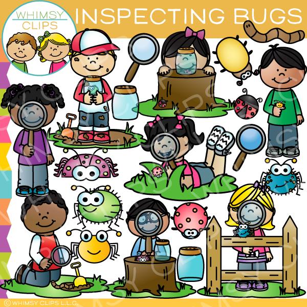 Kids Inspecting Bugs Clip Art.