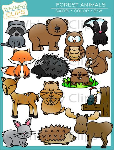 Cute Forest Animal Clip Art.