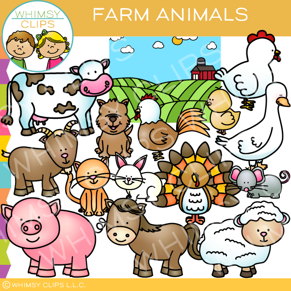 Cute Farm Animals Clip Art.