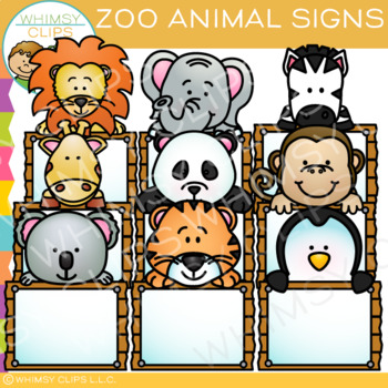 Blank Signs with Zoo Animals Clip Art.