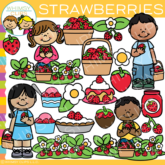 Kids in the Strawberry Patch Clip Art.