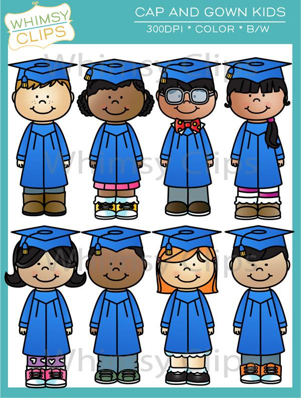 Cap and Gown Kids Clip Art.