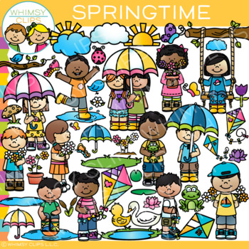 Bright and Colorful Springtime Clip Art {Whimsy Clips Spring Clip Art}.