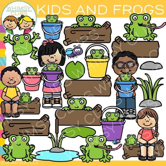Outdoor Kids and Frogs Clip Art.