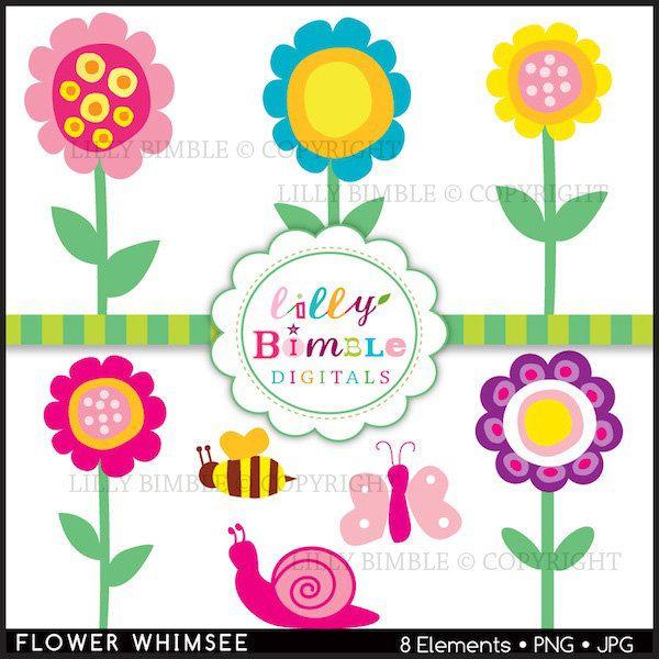 Whimsical Flowers Clip Art.