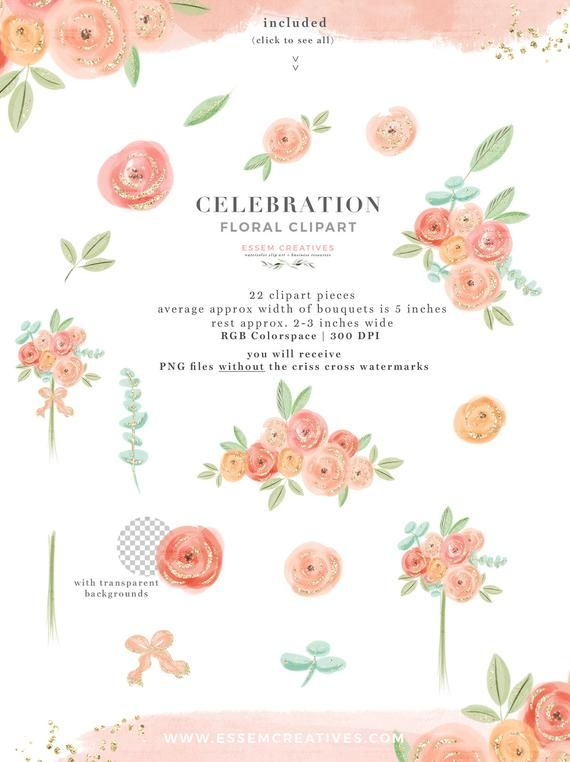 Peach Pink Watercolor Floral Clipart, Cute Whimsical Flowers.
