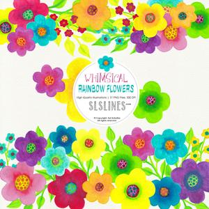 Rainbow Whimsy Flowers, Watercolor PNGs.