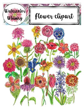 Watercolor Flowers Clipart (Watercolor Whimsy).