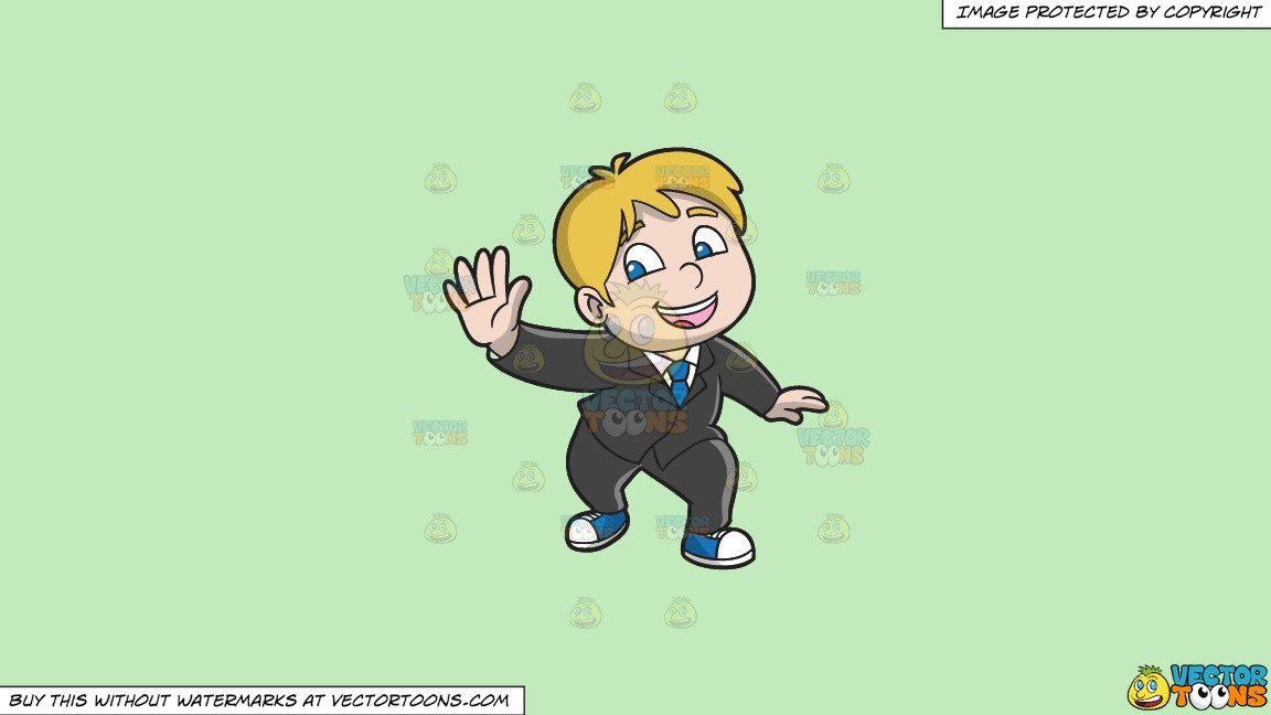 Clipart: A Chubby Happy Boy Dancing To Whip Nae Nae on a Solid Tea Green  C2Eabd Background.