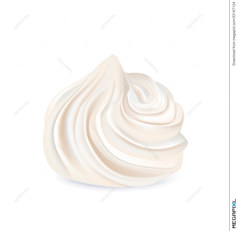 Whipped Cream Swirl Isolated On White Illustration 33167124.