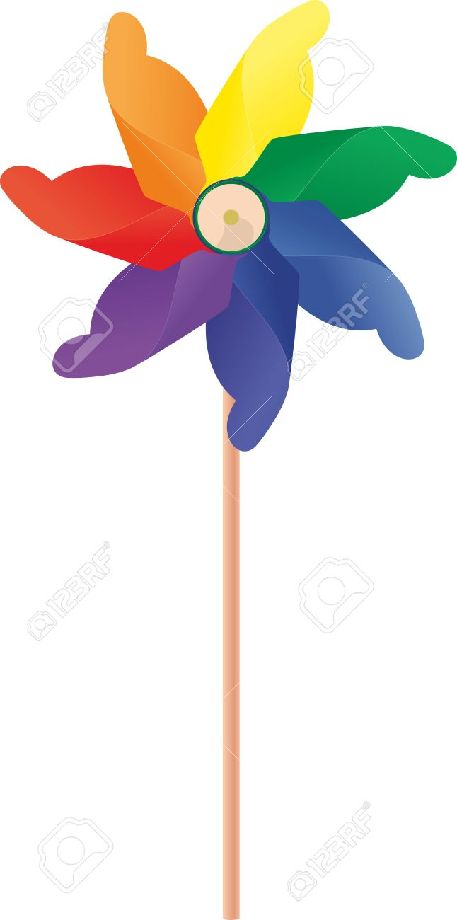 A Whirligig With A Blades Rainbow Colored Royalty Free Cliparts.