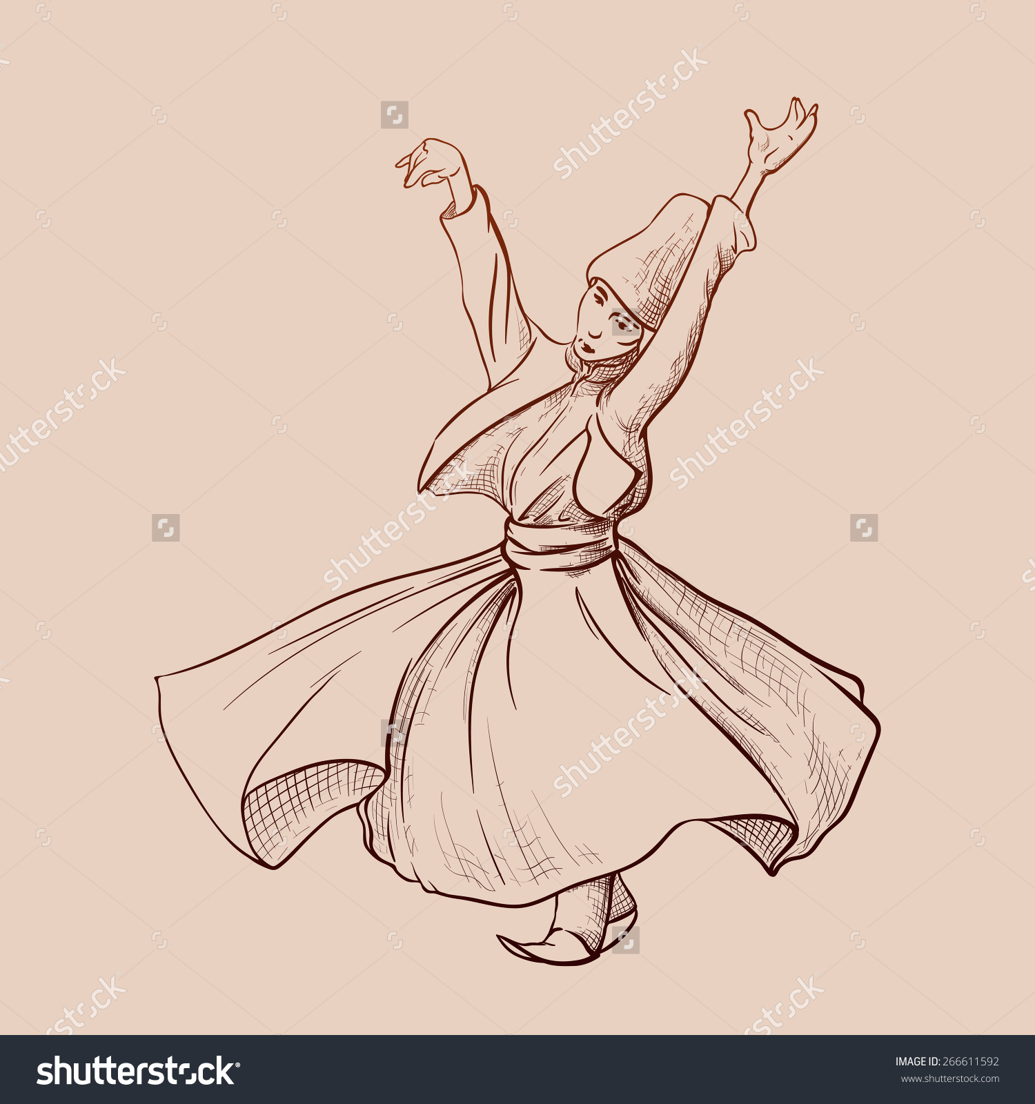 Whirling Dervish Dancing One Famous Tourists Stock Vector.