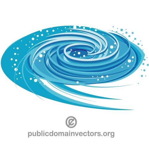 Blue whirlpool vector clip art.