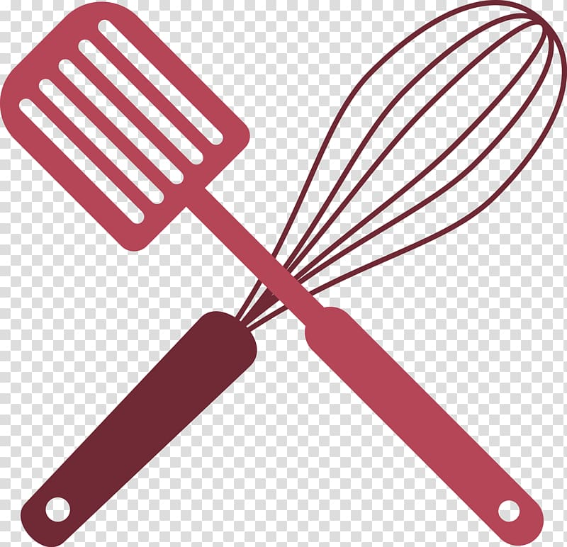 Red whisk and spatula illustration, Tool Kitchen utensil.