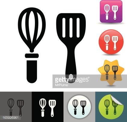Wire whisk and spatula icon.