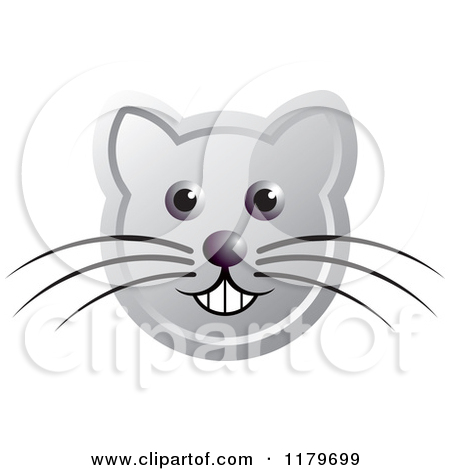 Clipart of a Smiling Orange Cat Face with Whiskers.