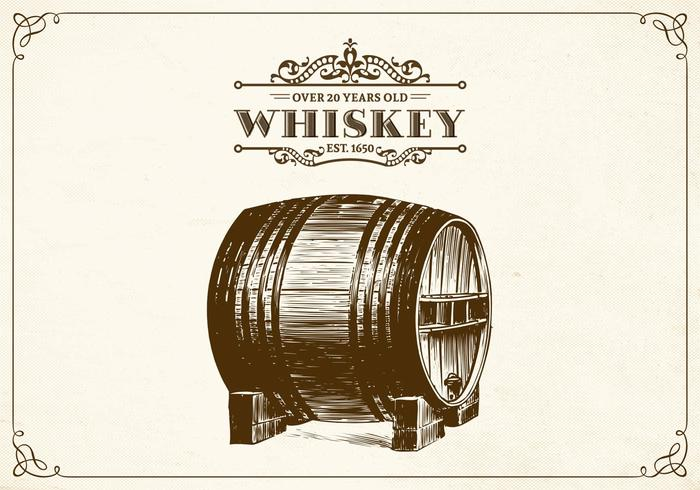 Hand Drawn Whiskey Barrel Vector.
