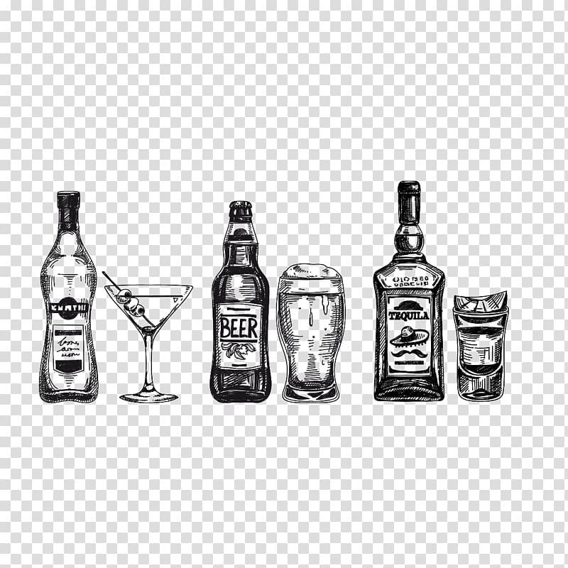 Liquor bottles and martini glass illustration, Whiskey.