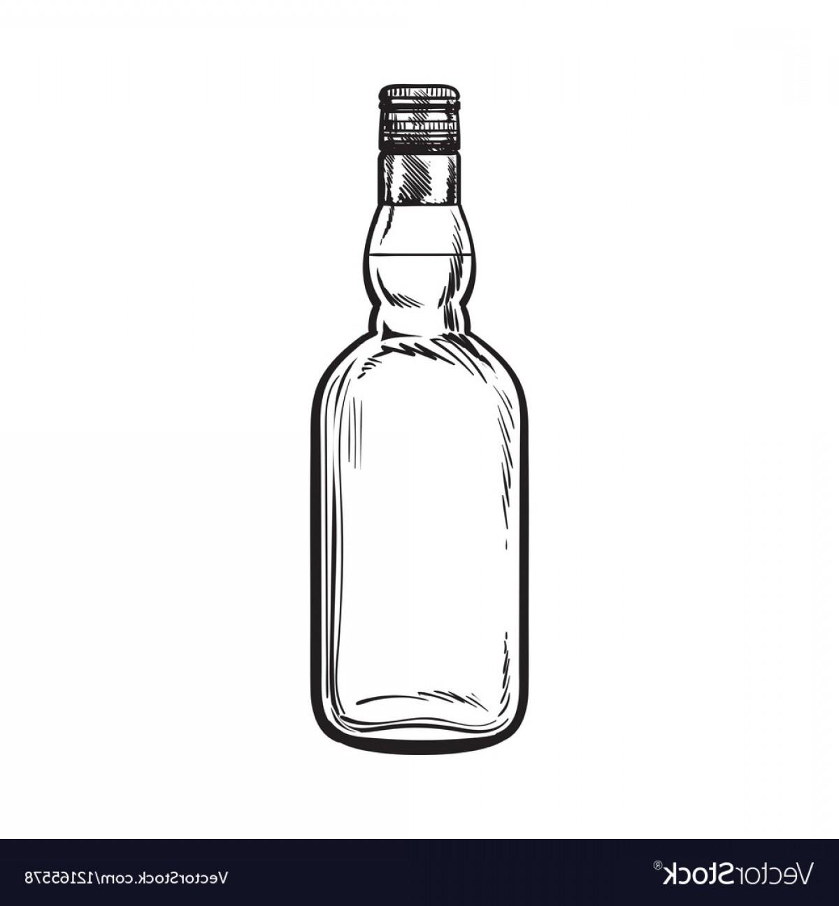 Unopened Unlabeled Full Whiskey Bottle Vector.