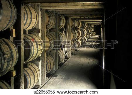 Stock Image of whiskey, Jack Daniel, distillery, cellar, Tennessee.