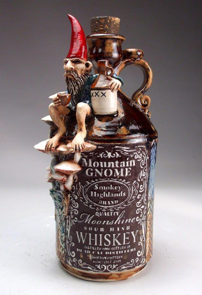 Gnome Whiskey Jug folk art sculpture pottery by face jug.