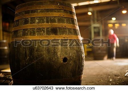 Stock Photo of Whisky cask in cooperage u63702643.