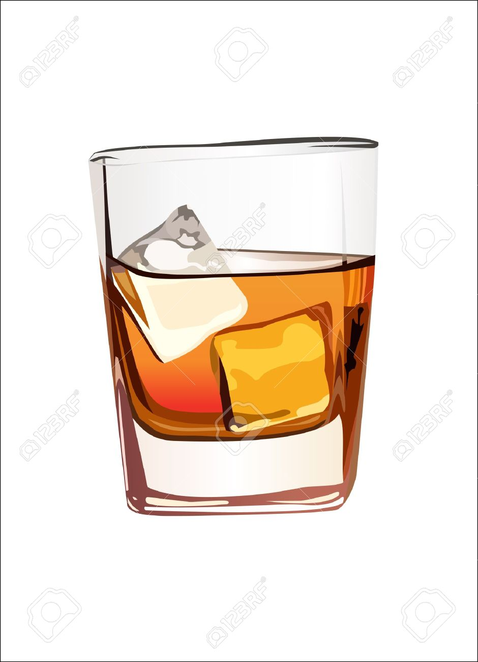 Whiskey In Glass With Ice Isolated On White Royalty Free Cliparts.