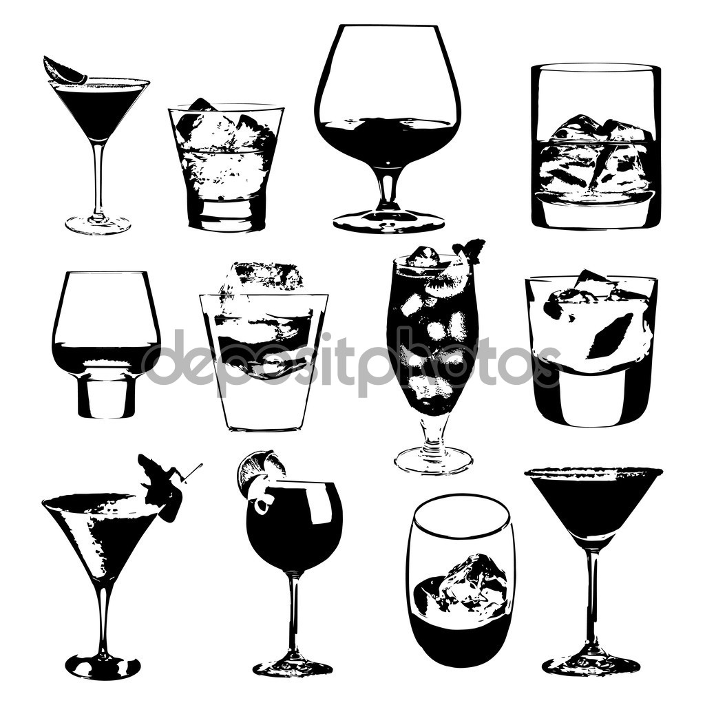 Cocktails set. Vector glasses collection. drinking whiskey party.