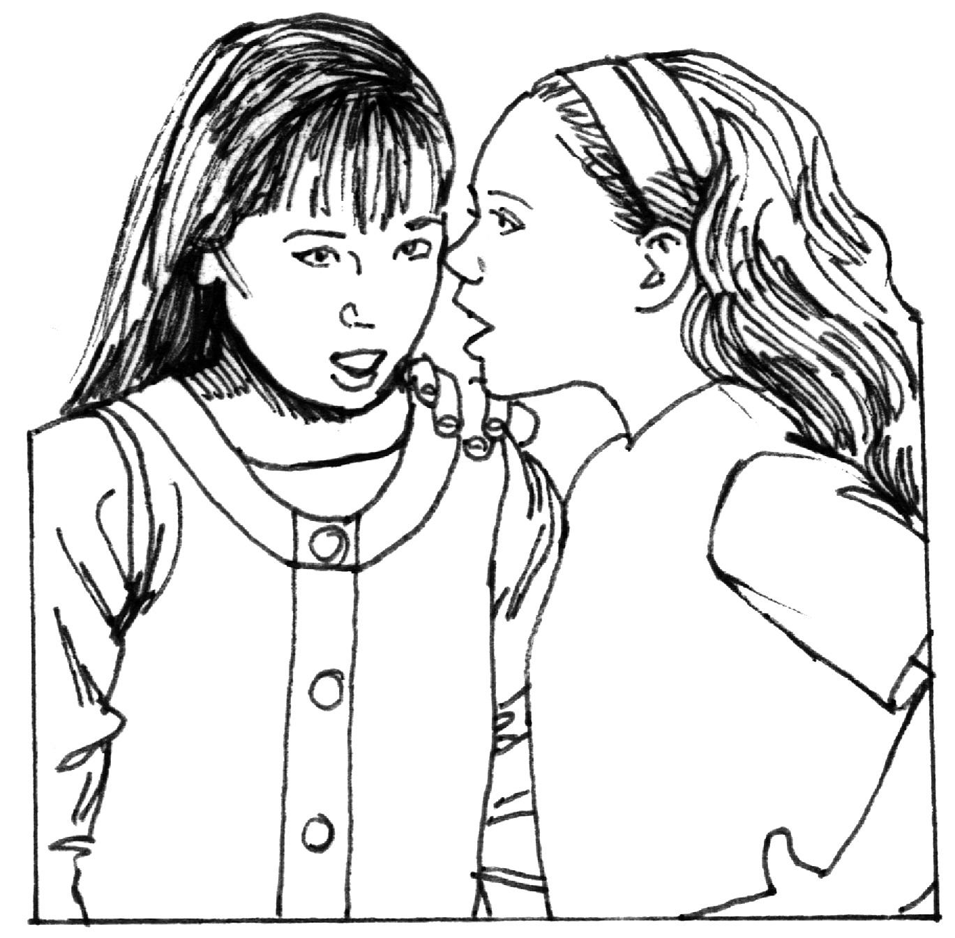 Whispering clipart black and white » Clipart Station.