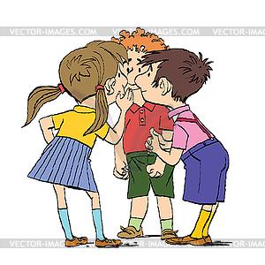 Mystery, group of children whispering.