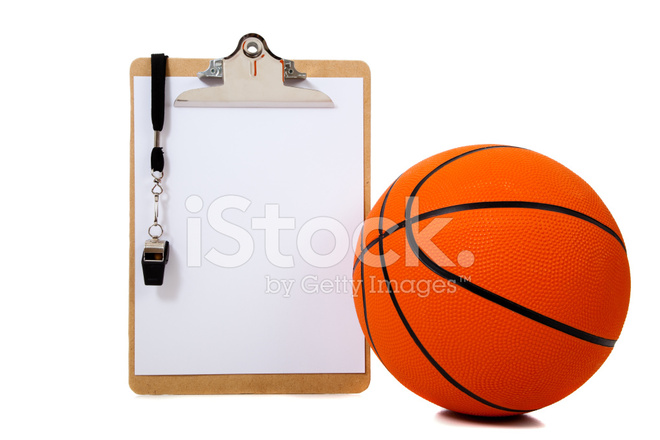Coaches Clipboard and Basketball With Whistle Stock Photos.
