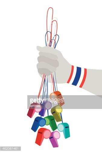 Human Hand Holding Group of Thai Whistles stock vectors.