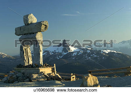Pictures of Inukshuk statue at the Peak on Whistler Mountain.