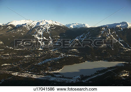 Stock Images of aerial of whistler village with whistler and.