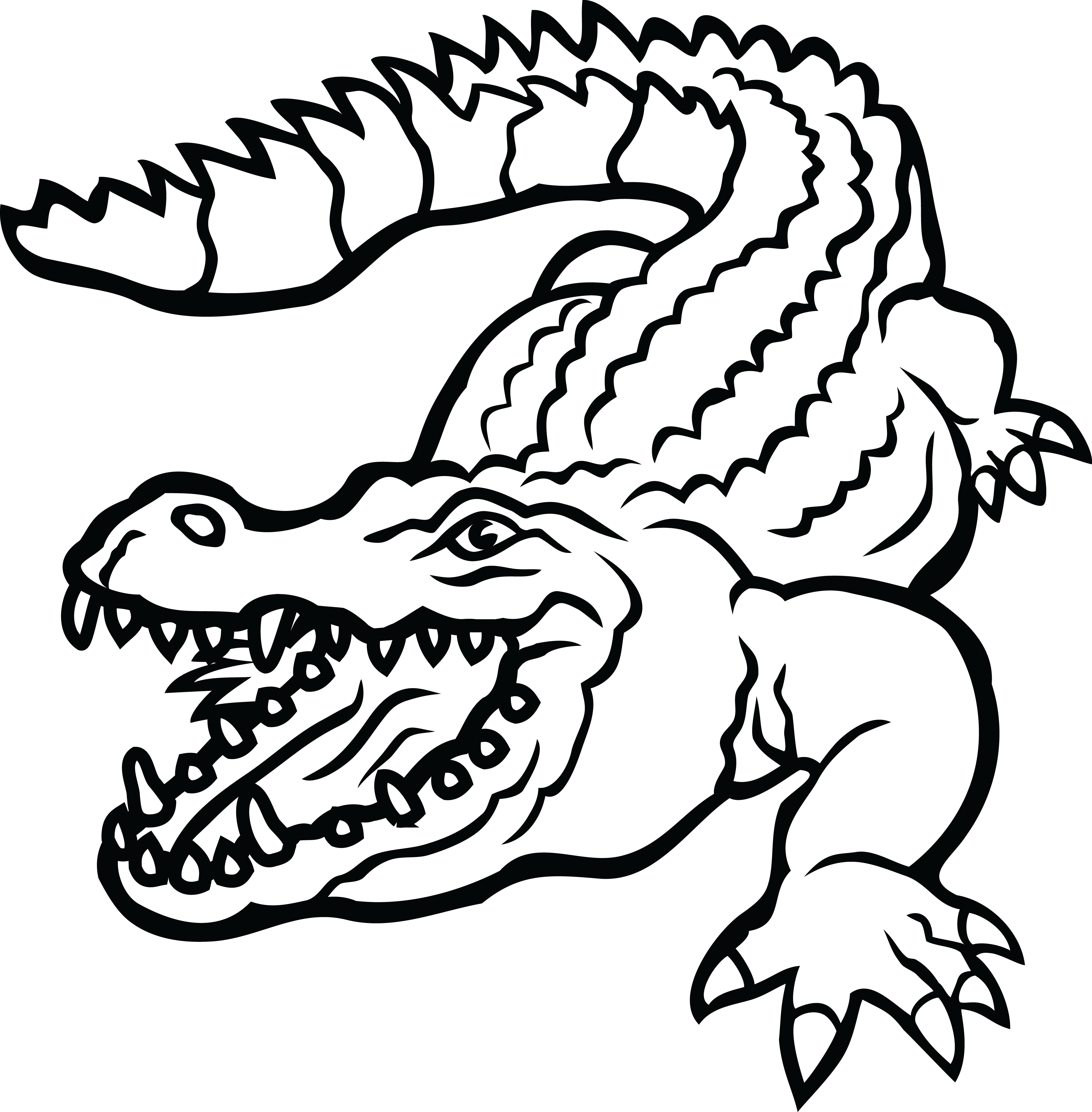 Collection of free Alligator vector black and white.