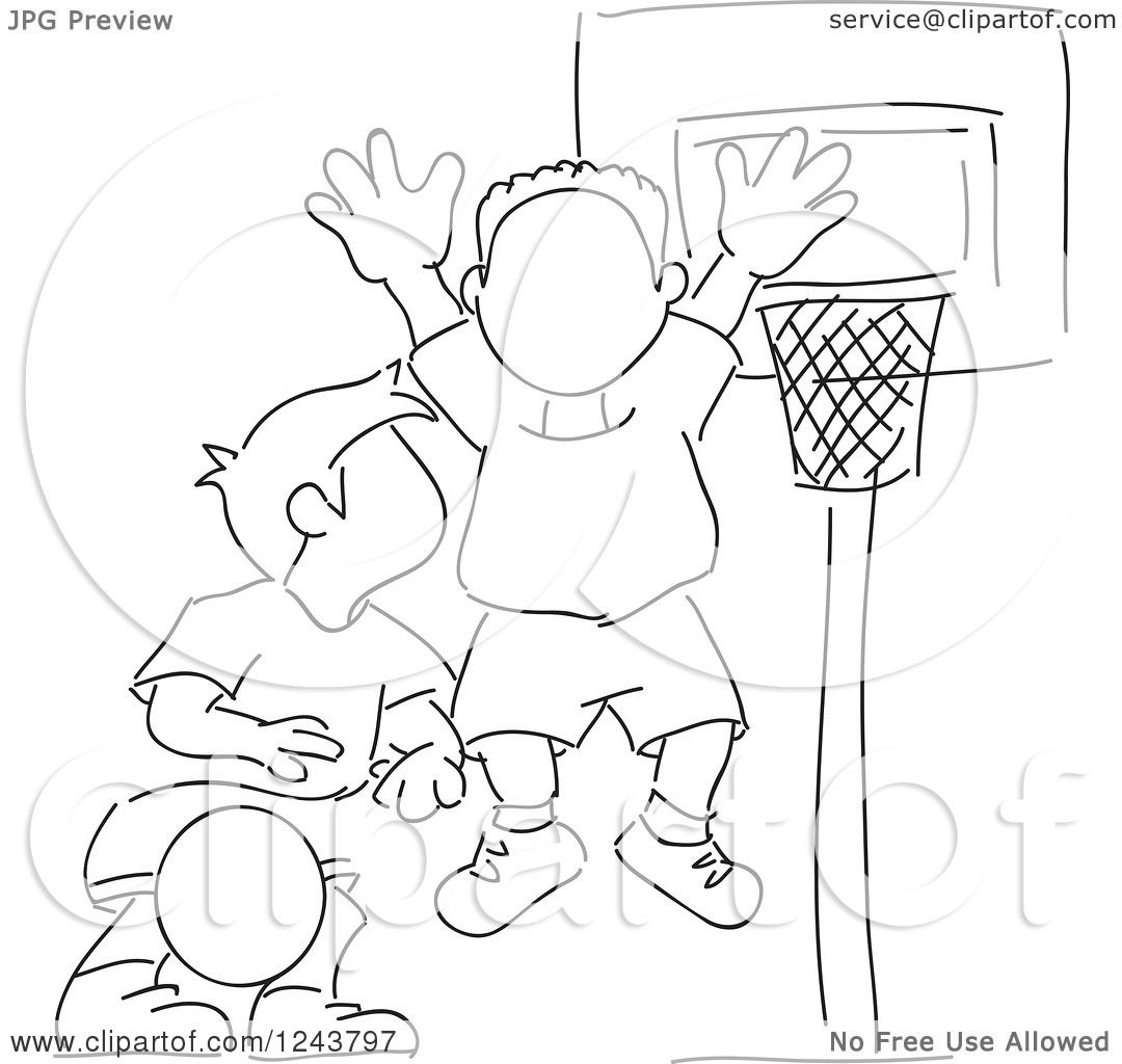 Clipart of Black and White Sketched Boys Playing Basketball.