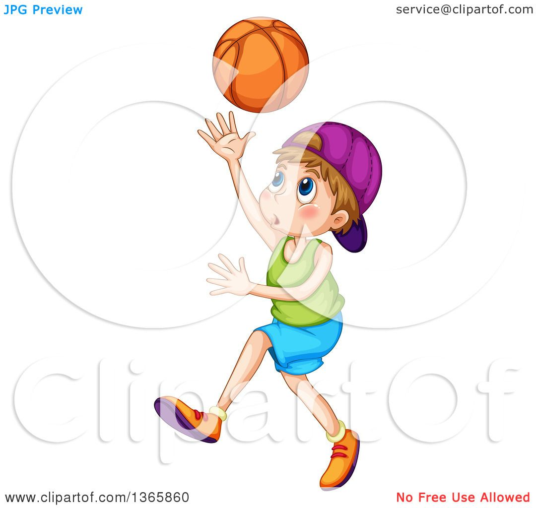 Clipart of a White Boy Playing Basketball.