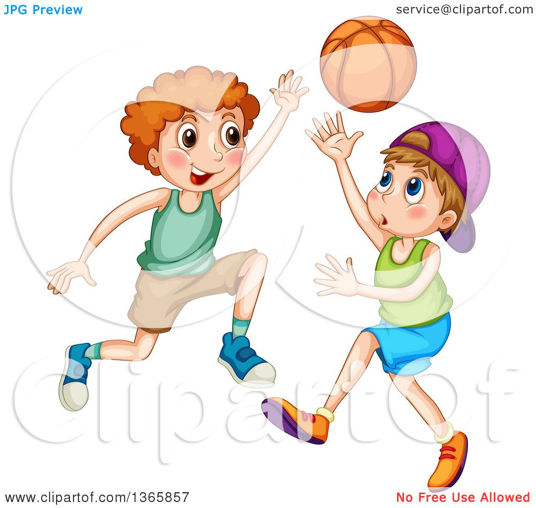 Clipart of White Boys Playing Basketball.