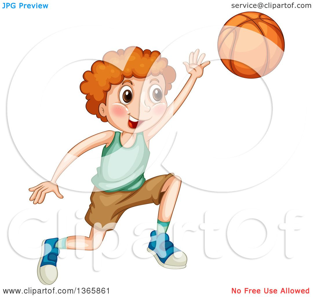 Clipart of a Red Haired White Boy Playing Basketball.