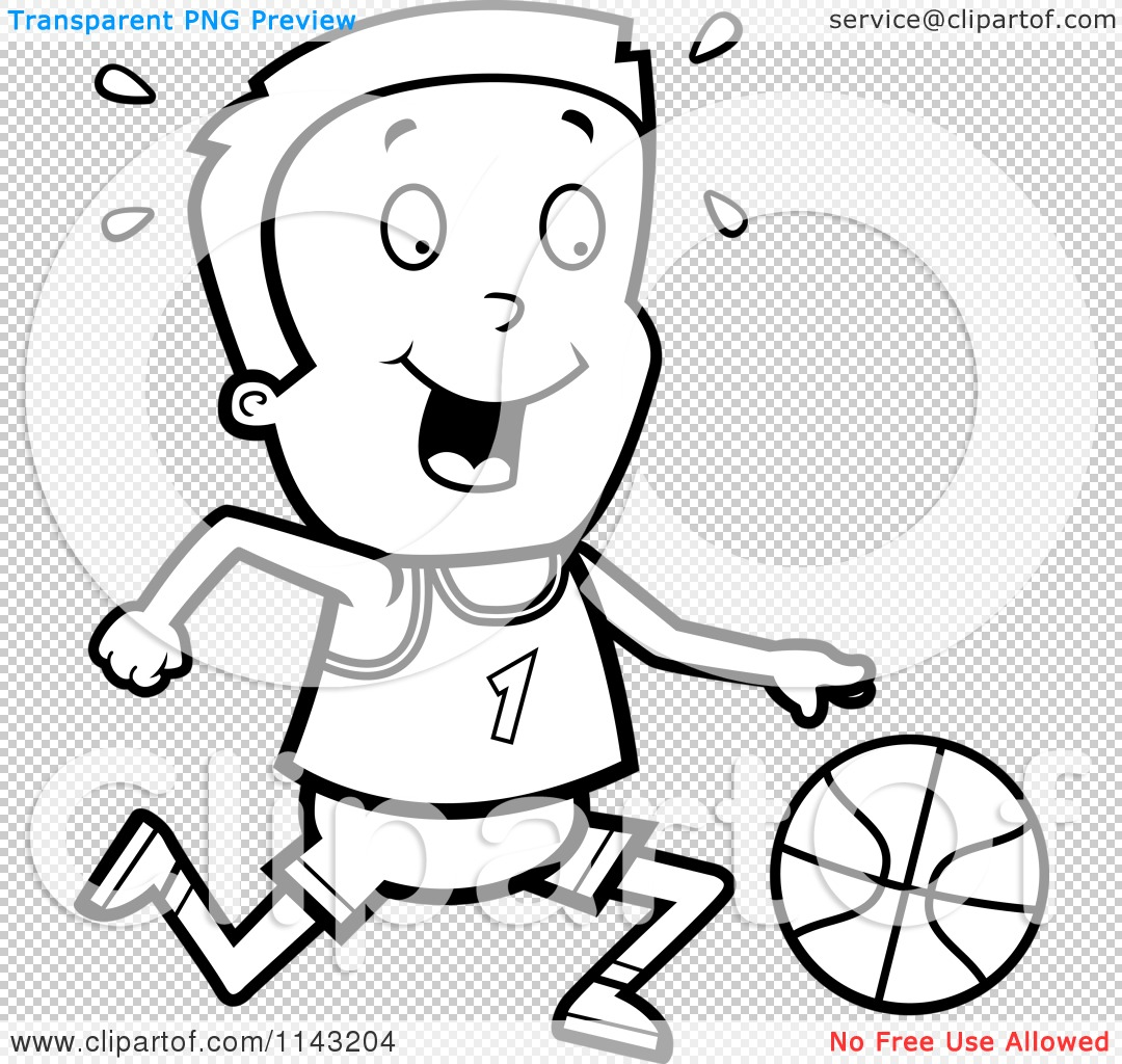 Cartoon Clipart Of A Black And White Basketball Boy Dribbling A.