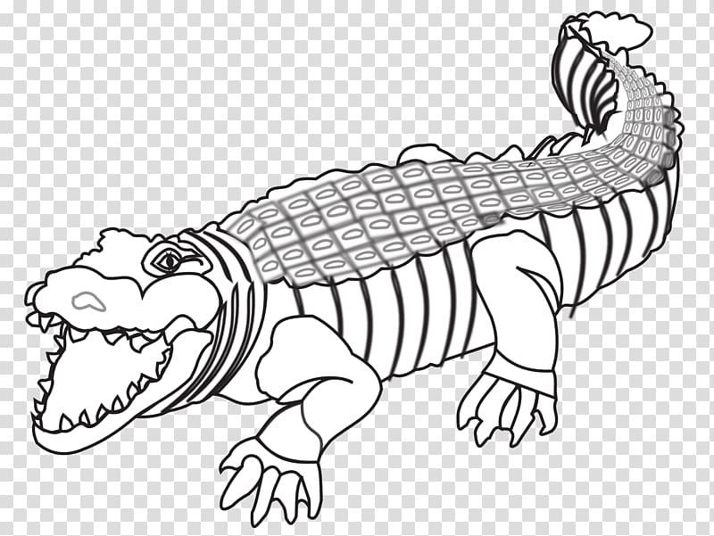 Crocodiles Alligator Black and white Drawing, crocodile.