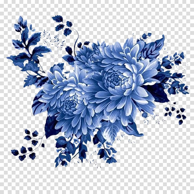 Blue and white pottery Motif , beautiful flower transparent.
