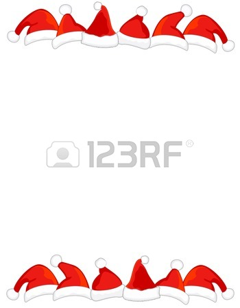 Bright Red Santa Hat Page Border / Frame On White Background.