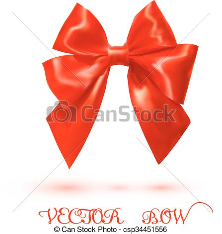 Clipart Vector of Bright red satin bow on a white background.