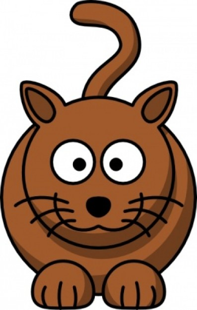 brown cartoon cat clip art with White background.