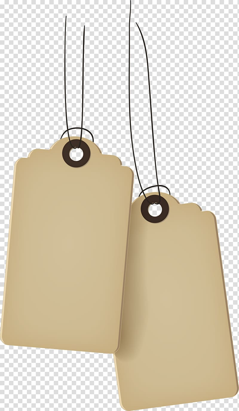 Two white cloth tags illustration, Cartoon yellow tag.